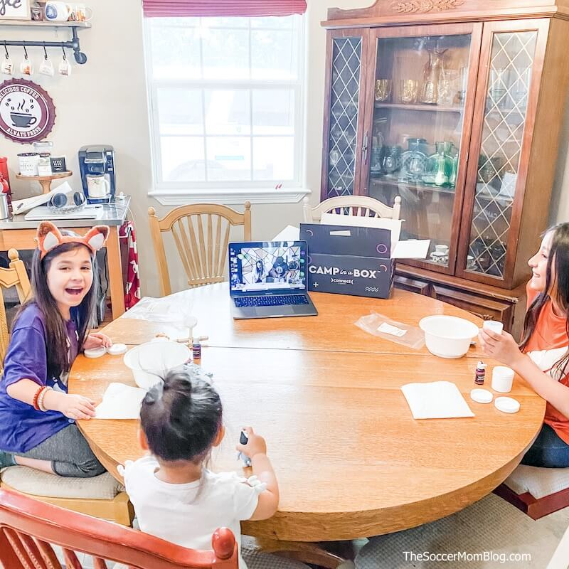 kids at kitchen table - summer camp at home