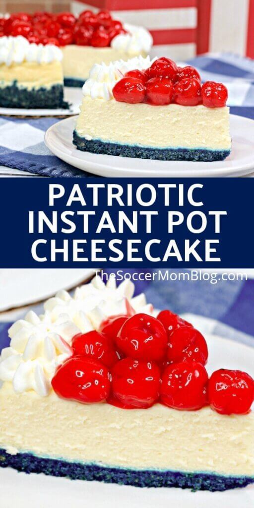This red white and blue cheesecake is a gorgeous patriotic treat - easy Instant Pot recipe! With bright blue crust and cherry topping, it's a show-stopper!