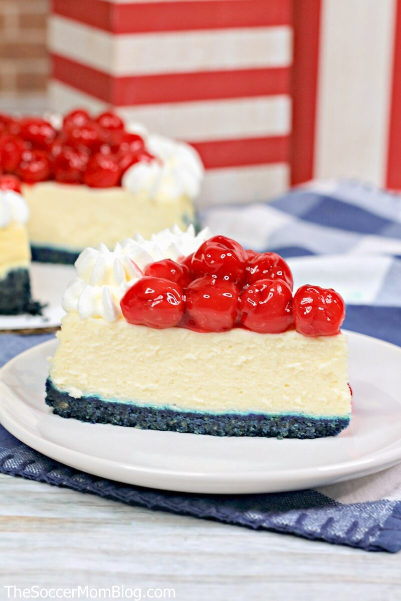 red white and blue cheesecake for 4th of July