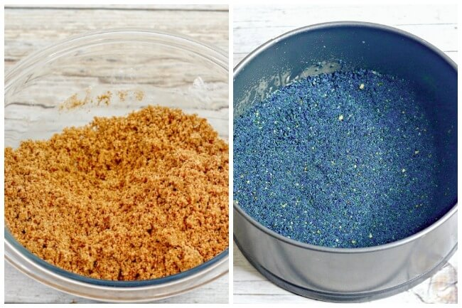 collage showing graham cracker crumbs and blue pie crust