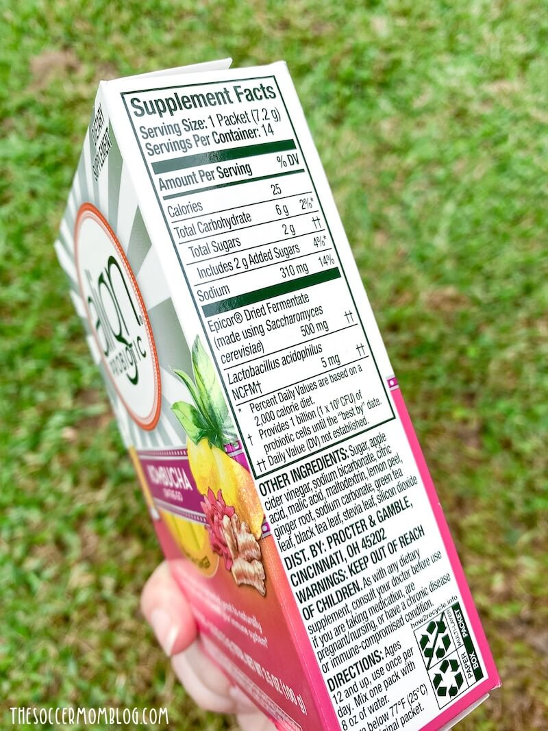 nutrition label on Align Probiotics kampuchea tea