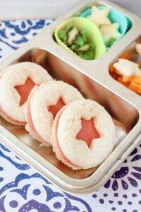 miniature ham & cheese sandwiches shaped like stars