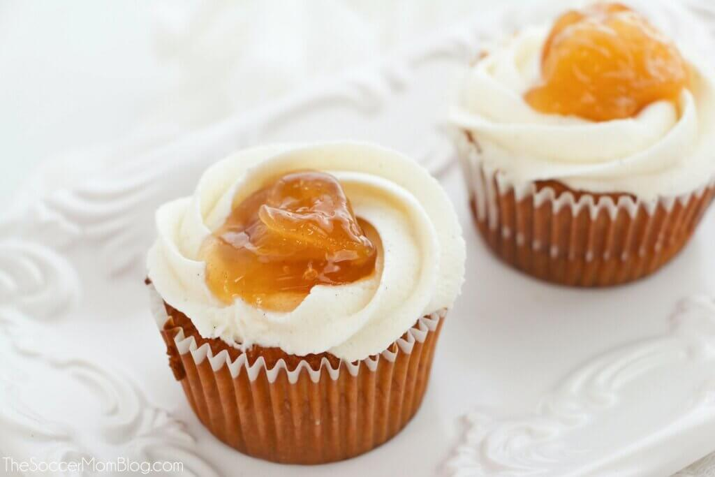 apple cupcakes with apple pie filling and topping