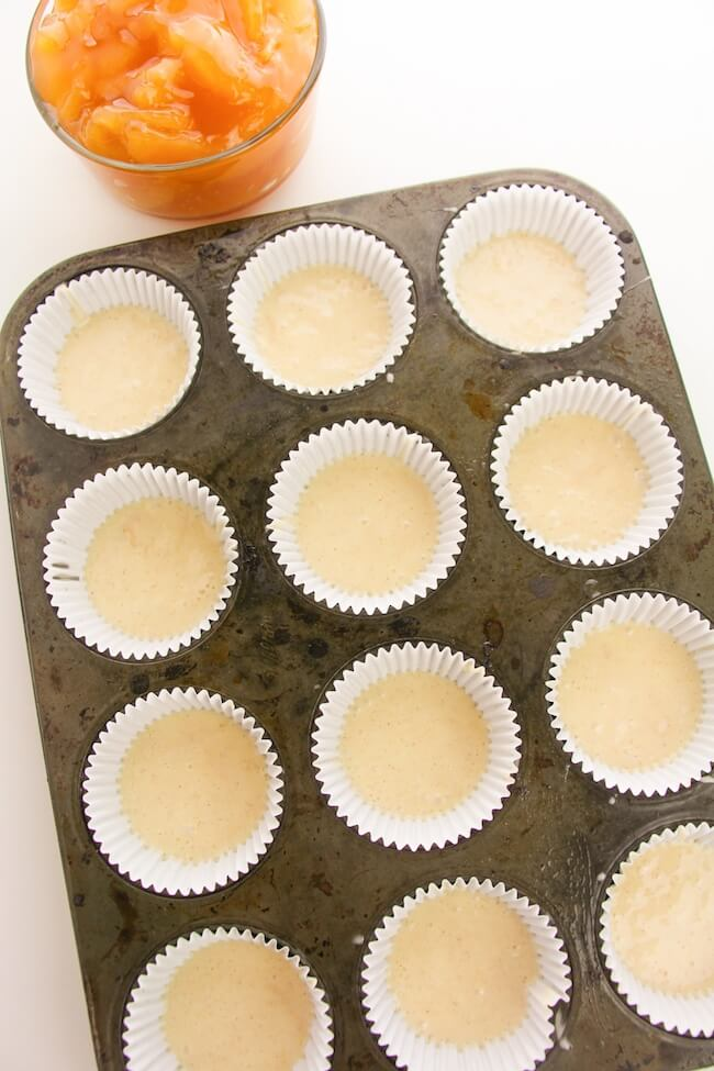 cupcake pan filled halfway with batter