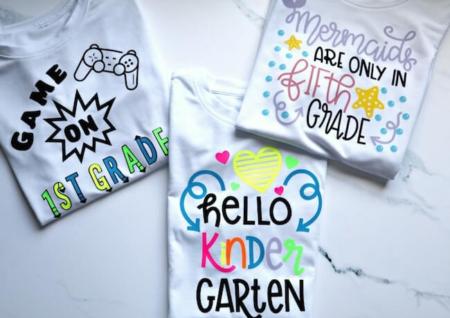 back to school t-shirts made with cricut