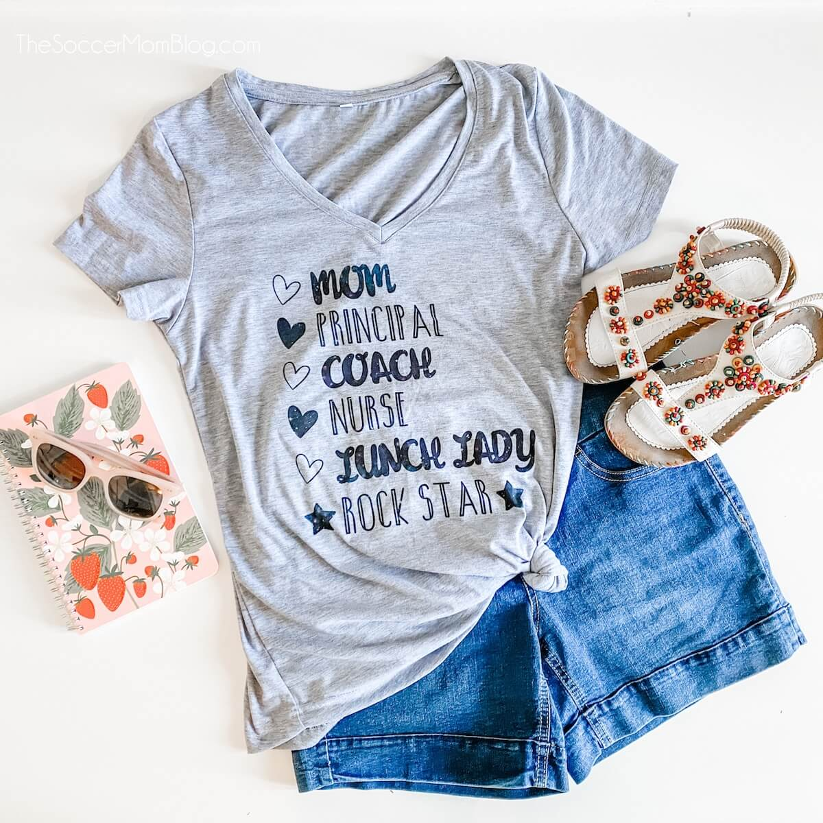 rockstar homeschool mom t-shirt made with Cricut