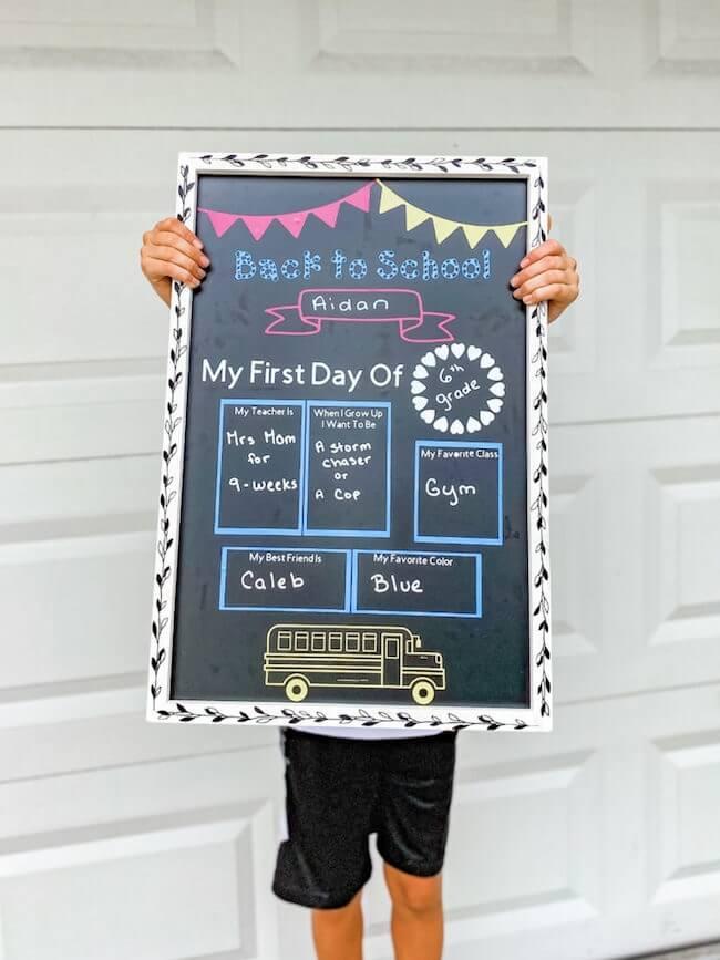 chalkboard back to school sign