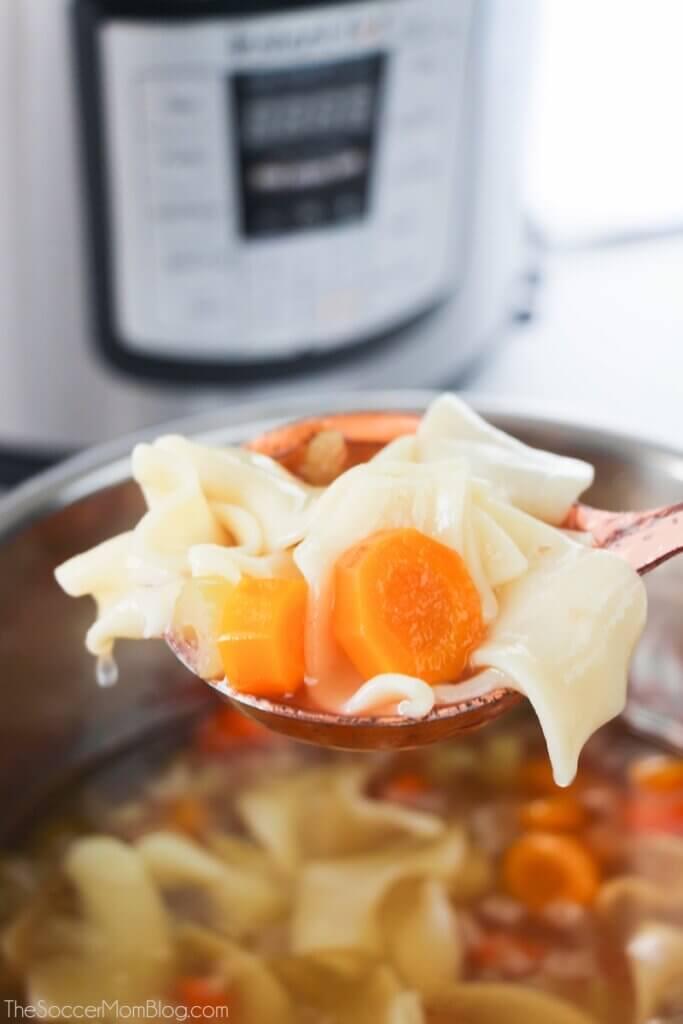 Instant Pot chicken noodle soup on ladle