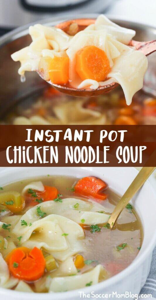 Eine herzhafte und köstliche Suppe war noch nie einfacher als mit dieser Instant Pot Chicken Noodle Soup!