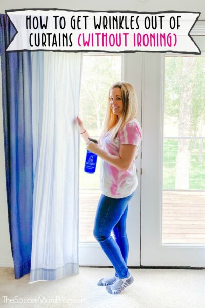 using wrinkle release spray on curtains