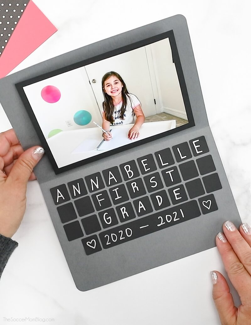 paper laptop craft with kids photo