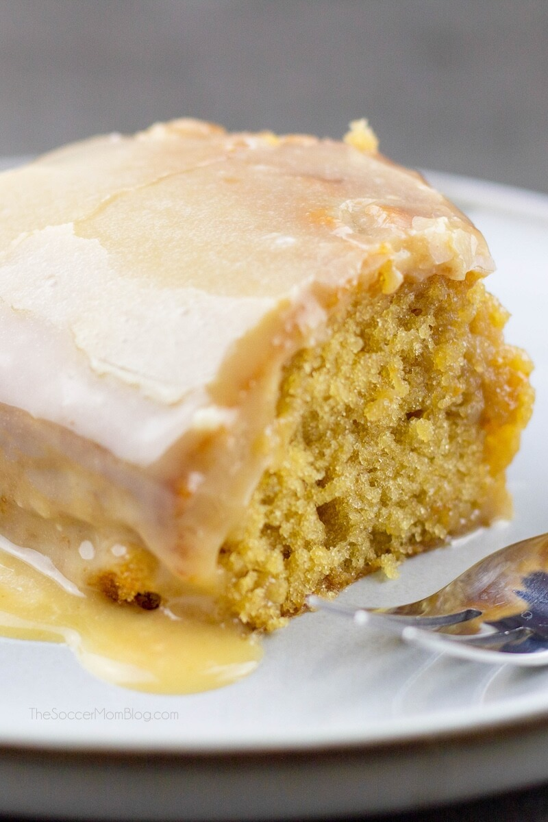 peanut butter sheet cake with melted icing