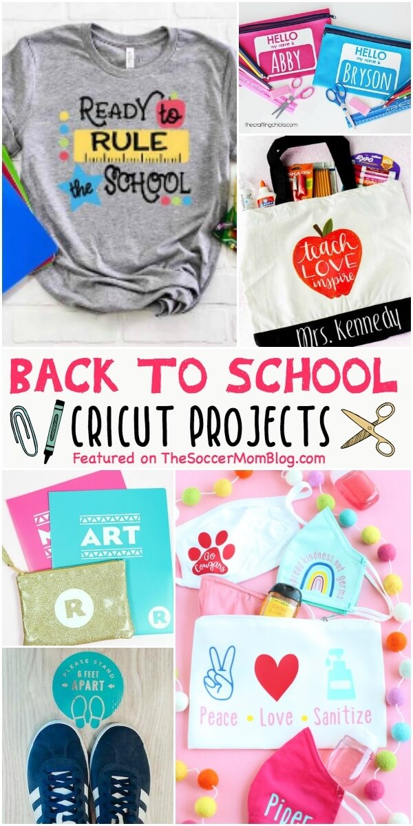 collage of back to school crafts made with Cricut