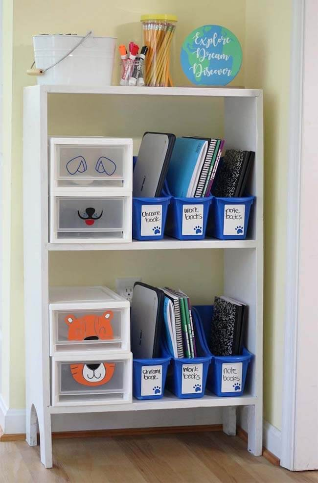 homeschool room organizing labels on shelf
