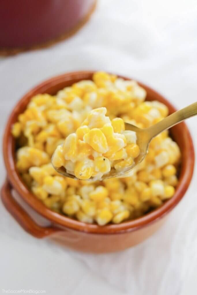 spoonful of homemade cream corn