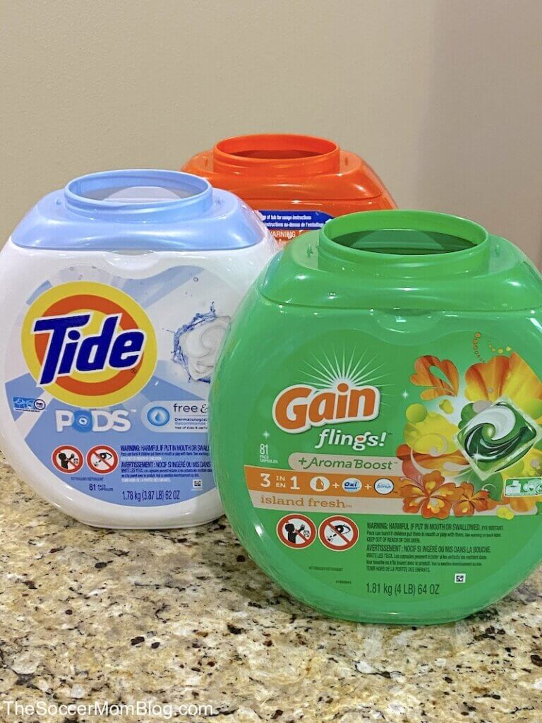 laundry detergent containers on counter