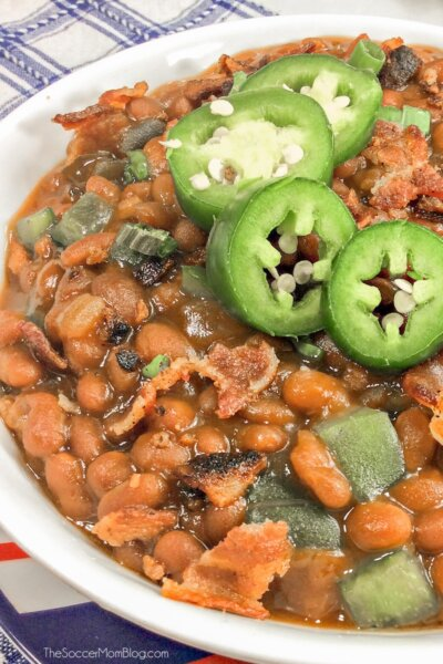 Instant Pot Baked Beans with bacon and jalapeño