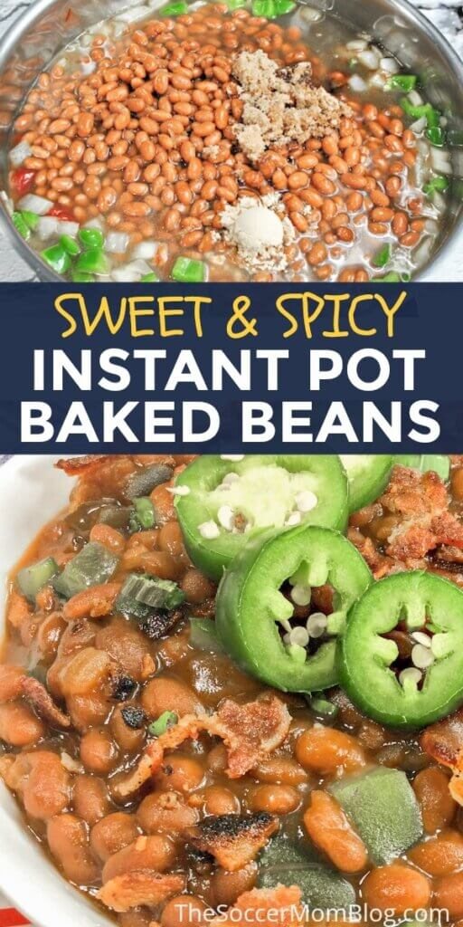 These amazing Sweet & Spicy Instant Pot Baked Beans are hearty enough to be a meal, but make for a mind-blowing side too!