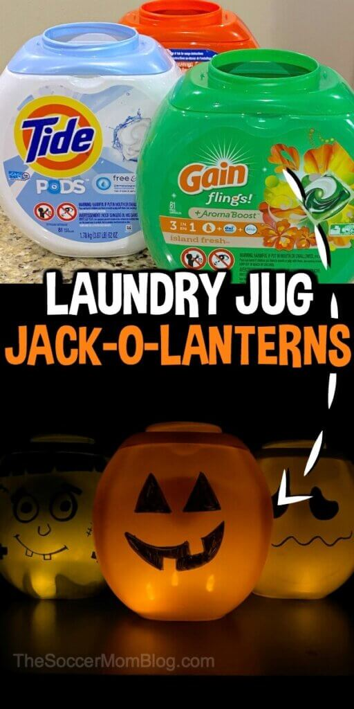 empty laundry detergent containers and homemade Jack-o-Lanterns