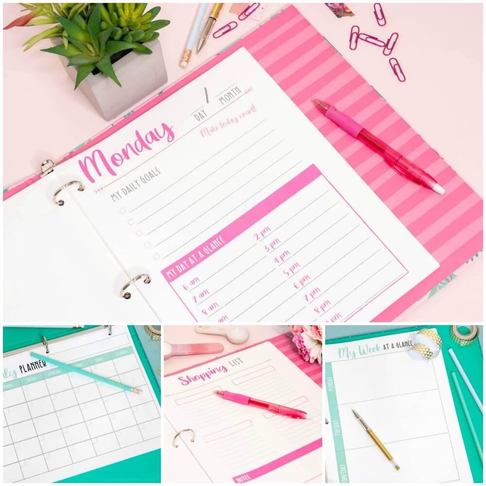 printable planner in binder - pink and teal