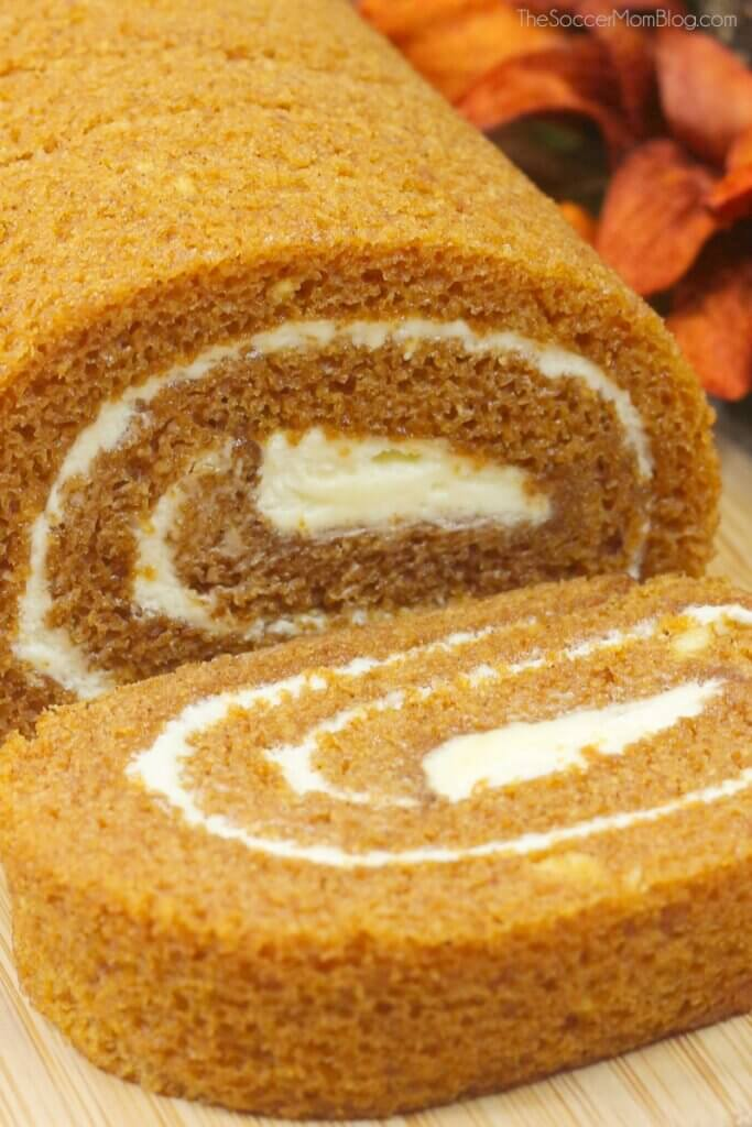pumpkin roll cake filled with cream cheese icing