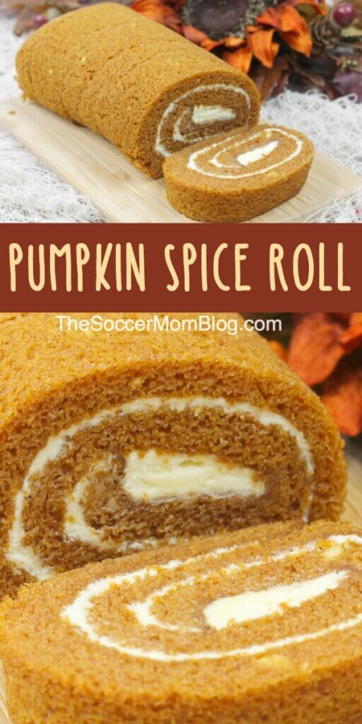 two photos of a pumpkin log dessert