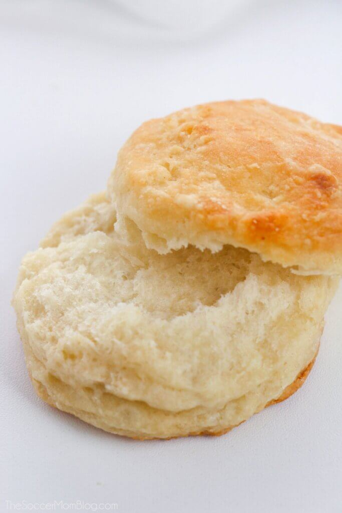 fluffy biscuit cut in half