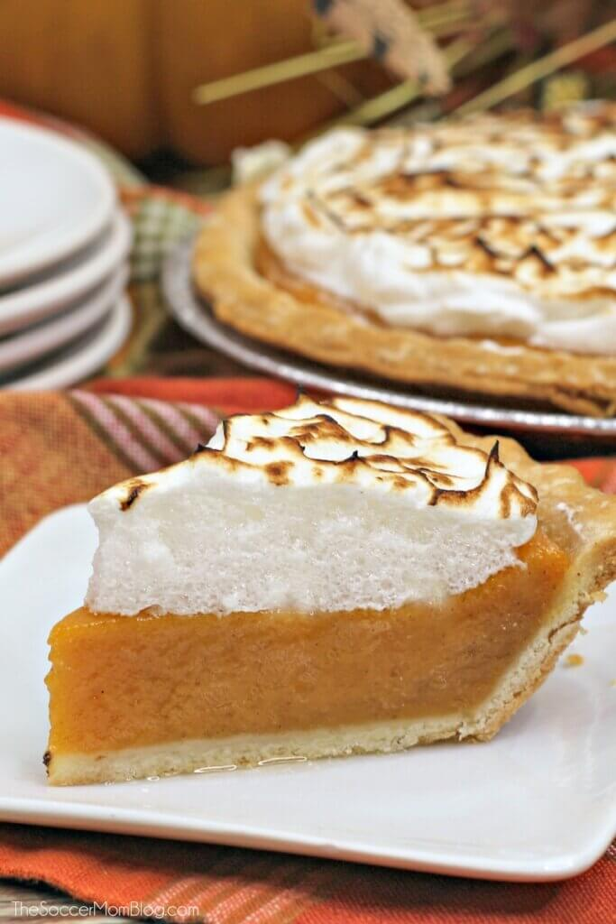 homemade sweet potato pie topped with toasted meringue