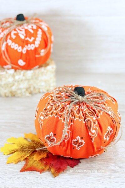 bandana covered pumpkin craft