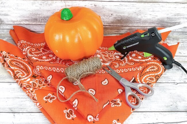 craft pumpkin, orange bandana, craft supplies