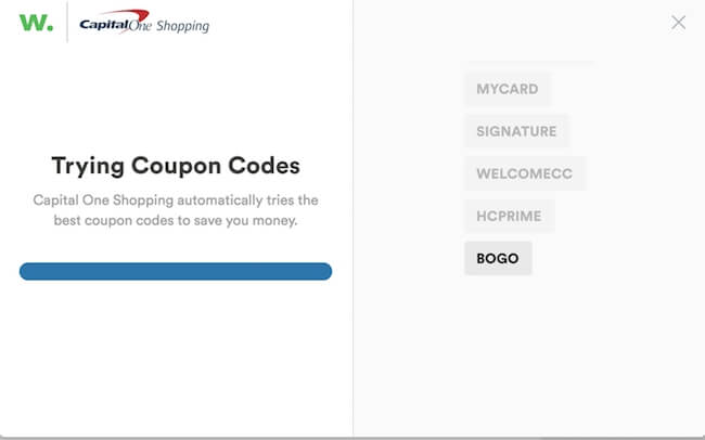 screenshot showing Capital One Shopping testing coupon codes
