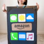 little girl in a cell phone Halloween costume