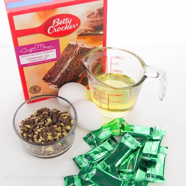ingredients needed to make Andes mint cookies with cake mix