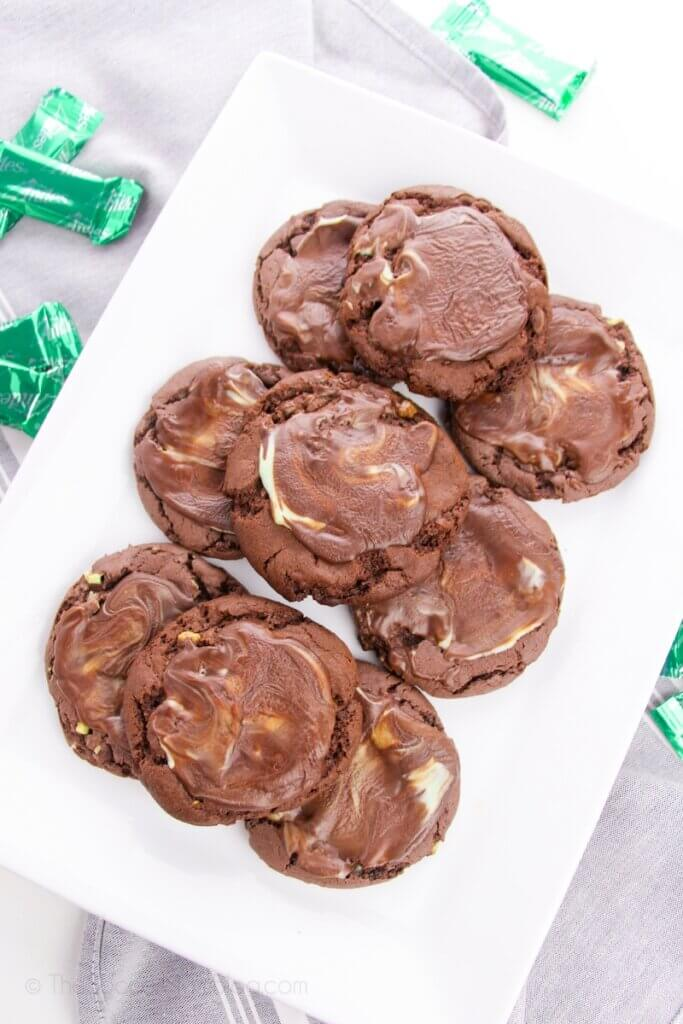 chocolate cake mix cookies with Andes mints