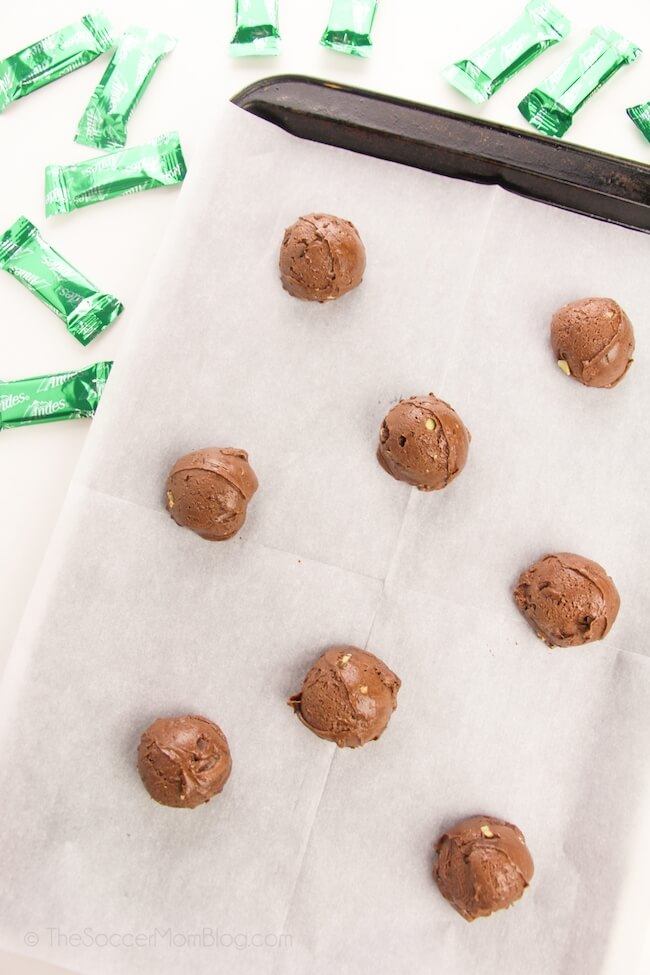 balls of chocolate Andes mint cookie dough on baking sheet