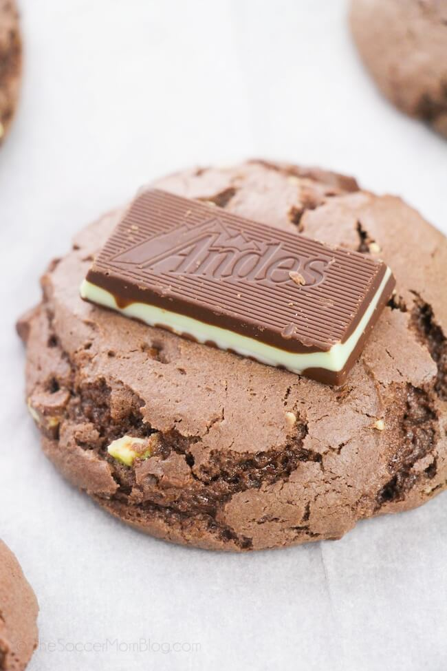 chocolate cake mix cookie with Andes mint on top