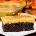 chocolate sheet cake with pumpkin frosting