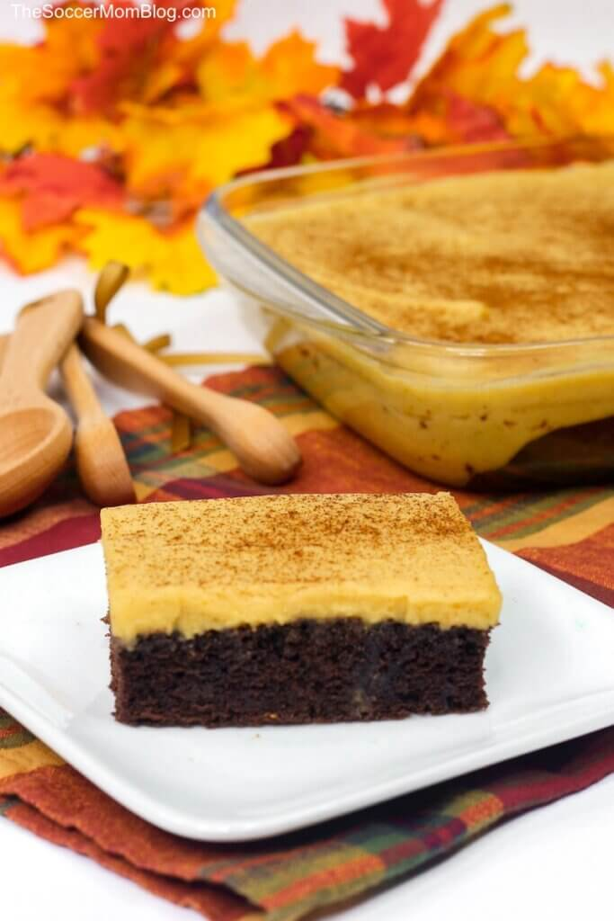 chocolate sheet cake slice topped with pumpkin icing