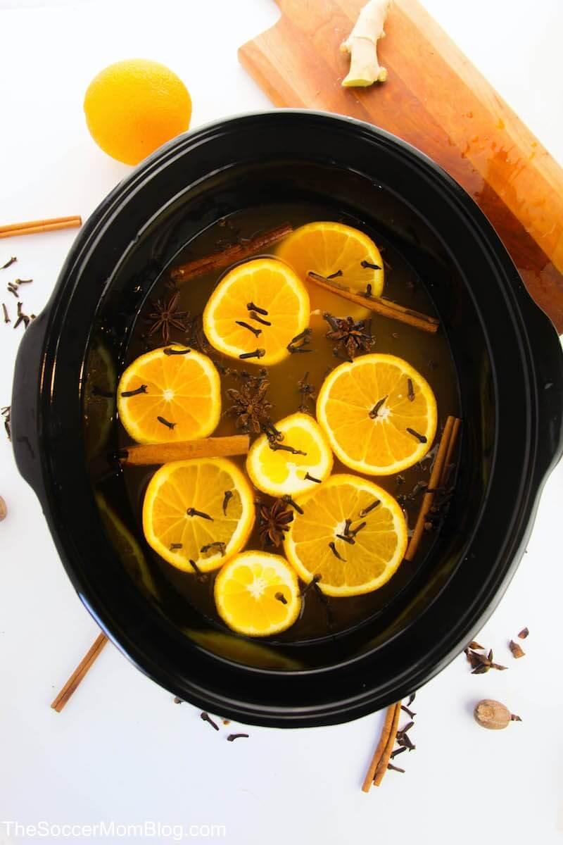 mulled apple cider in slow cooker