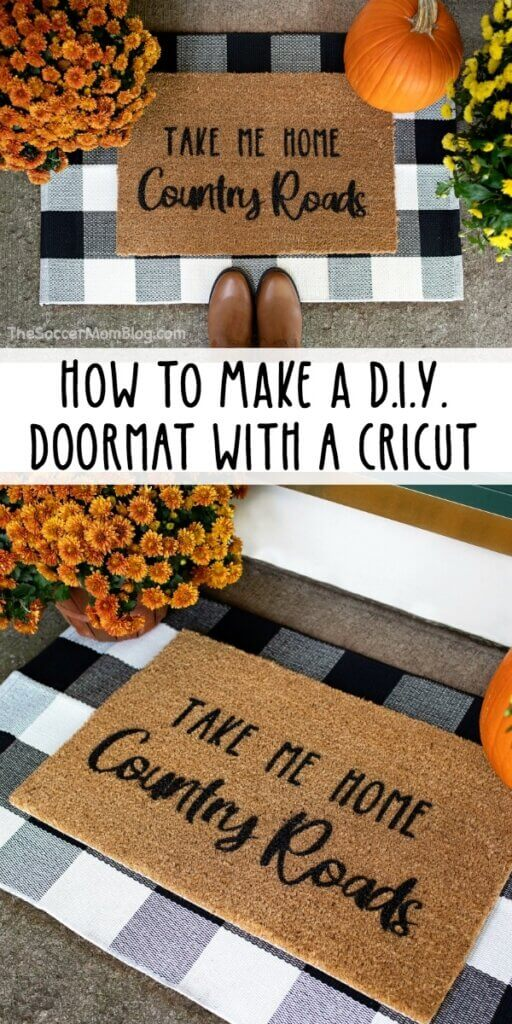 homemade doormat on porch