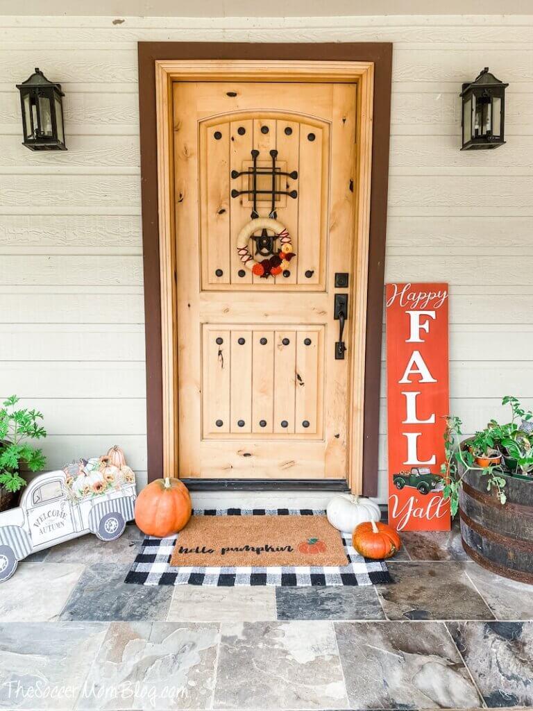 farmhouse style fall decor with decorative pumpkins
