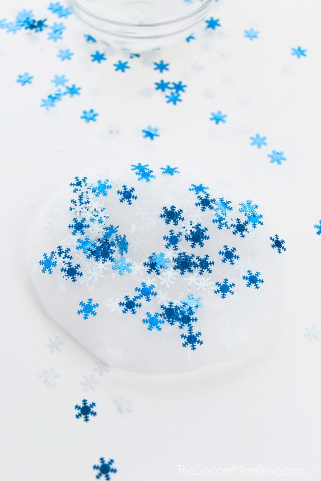 adding snowflake confetti to clear slime