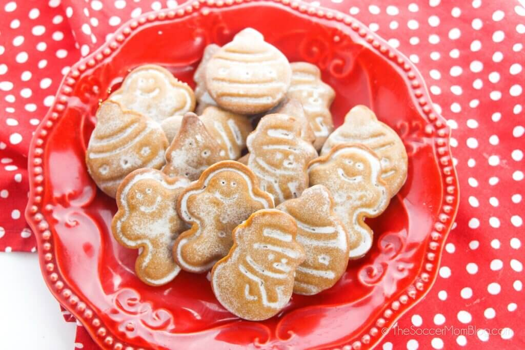 glazed gingerbread cookies on red plate