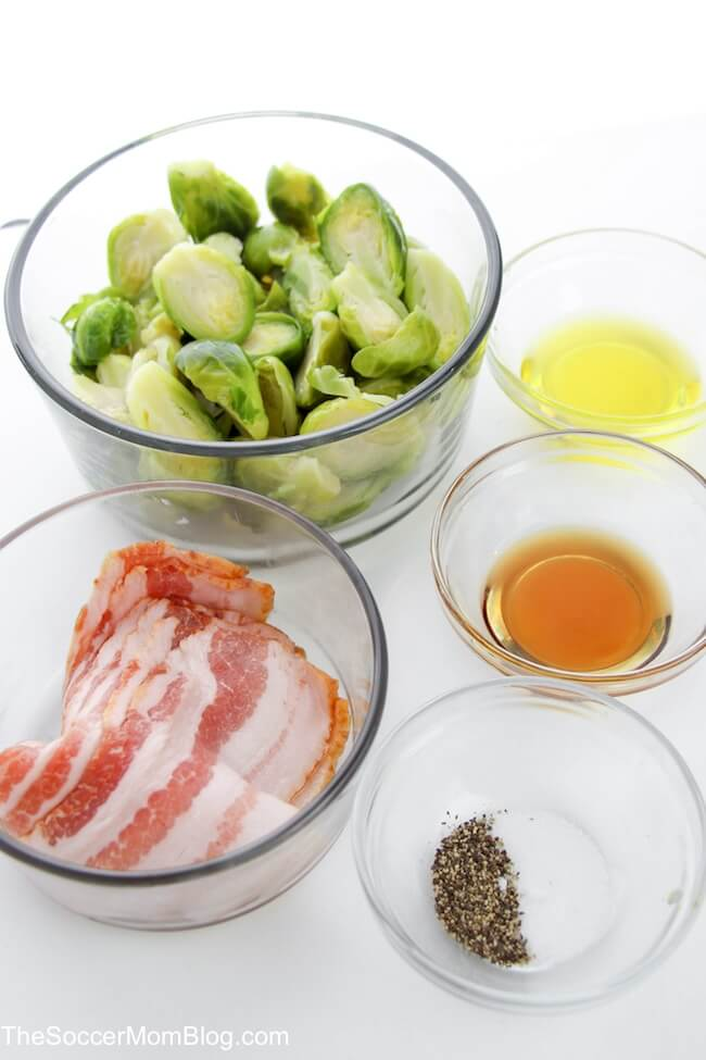 brussel sprouts, bacon, maple syrup, and seasoning in bowls