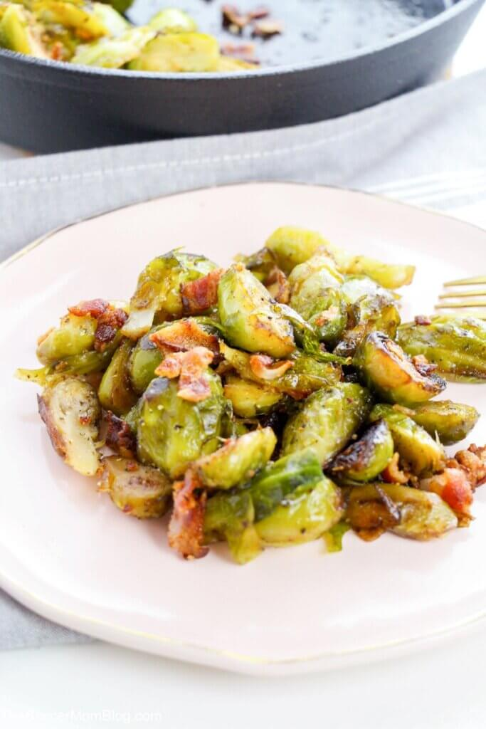 Brussels sprouts cooked with maple syrup and bacon