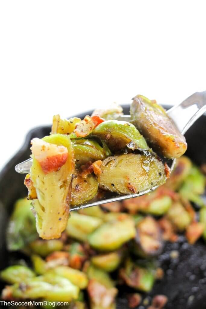 forkful of maple bacon brussel sprouts