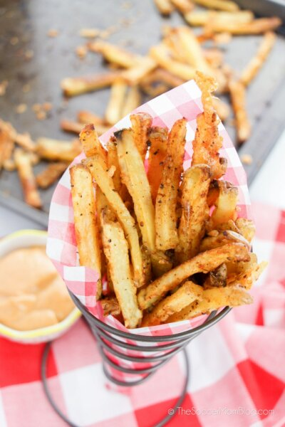 crispy oven baked French Fries in fry stand