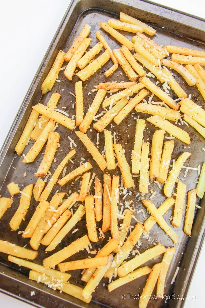 homemade French Fries on baking sheet