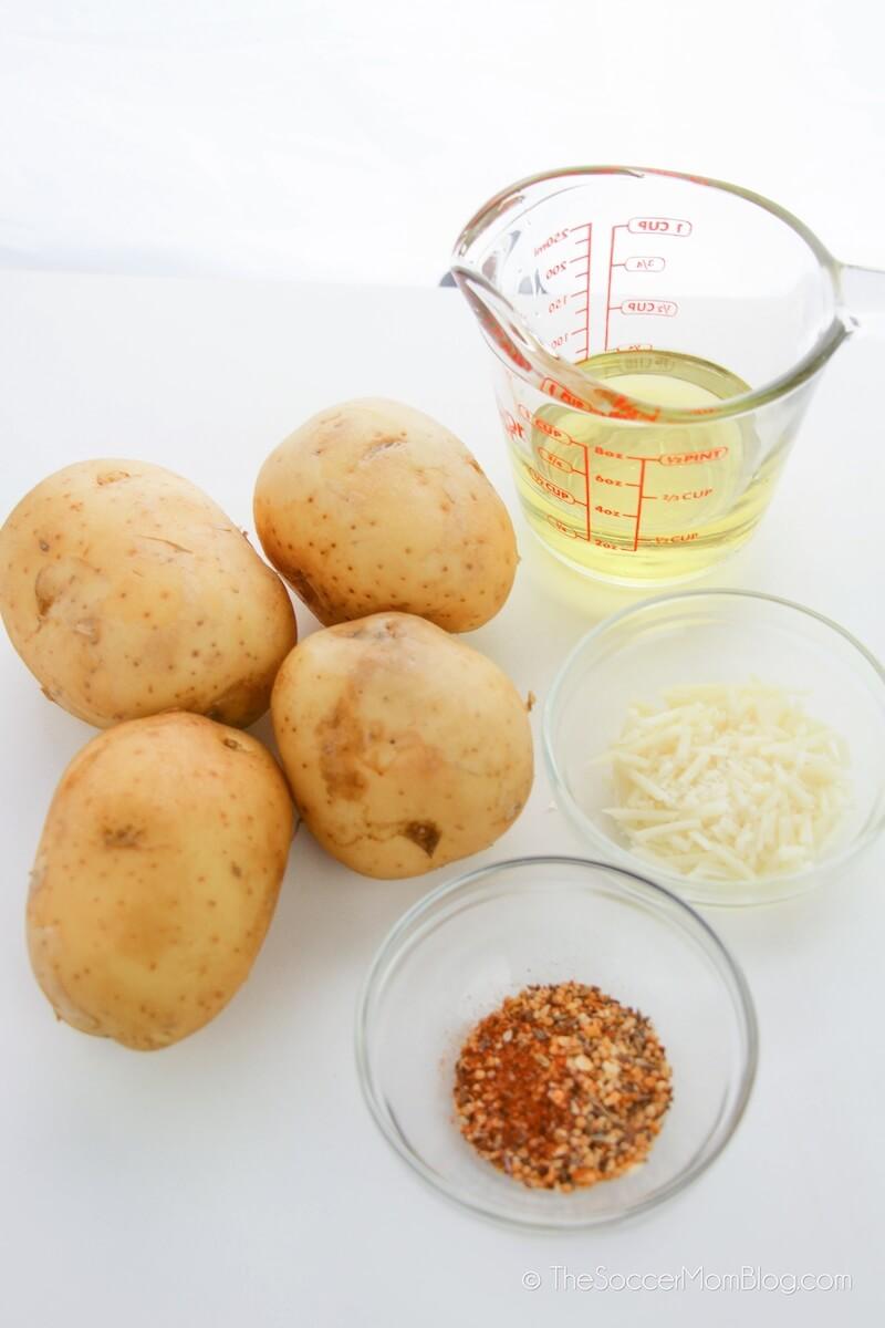 potatoes, oil, and seasoning