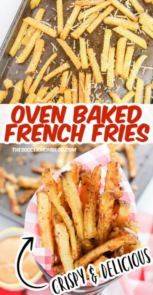 These Oven Baked Fries are just as crispy as air fryer french fries, and so easy to make!